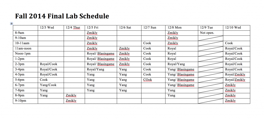2014-fall-lab-schedule